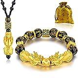 Feng Shui Black Obsidian Wealth Bracelet Necklace Pi Xiu Set,Feng Shui Bracelet for Women Men,Pi Xiu Good Luck Necklace Feng Shui Bracelet
