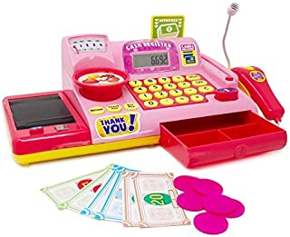 Boley Kids Toy Cash Register - Pretend Play Educational Toy for Kids, Children, Toddlers - Cash Register with Electronic Sounds, Play Money, Grocery Toys, Working Calculator, and More - Pink