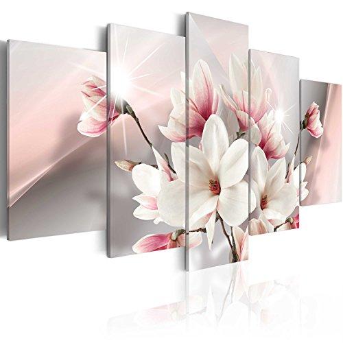 murando - Cuadro en Lienzo Magnolias Flores 200x100 - Impresion de 5 Piezas Material Tejido no Tejido Impresion Artistica Imagen Grafica Decoracion de Pared Naturaleza b-A-0217-b-m
