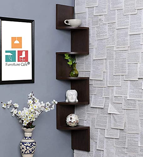 Furniture Cafe Wooden Wall Shelves | Corner Hanging Shelf for Living Room Stylish | Zig Zag Home Decor Floating Display Rack Storage Organizer Unique Design with Finish 5 Tiers (Brown Finish)