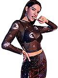SweatyRocks Women's Long Sleeve Round Neck Galaxy Print Sexy Sheer Mesh Crop Top Black M