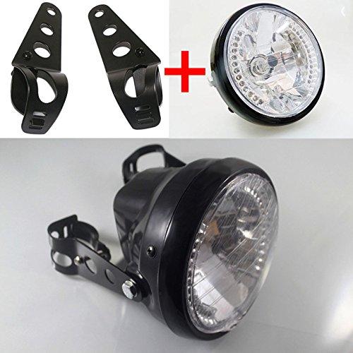 Accessori per auto,Accessori per auto,Lampada frontale universale da 7 pollici per moto ATV faro anteriore a LED con staffe di montaggio black