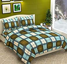 TIB Check Print Fleece Warm Woolen Double Bedsheet with 2 Pillow Covers