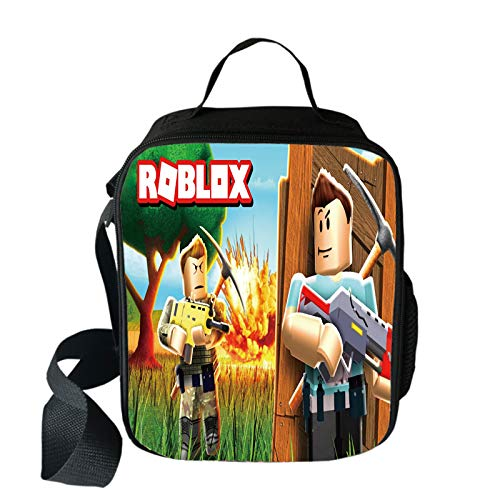 Bonamana Anime Roblox Lunch Bag Shoulder Bag Food Container Tote Bag with 3D Print Digital Pattern Waterproof Insulated (Roblox-B)