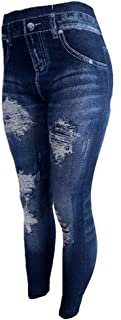 Women's Denim Print Fake Jeans or Solid Colors Seamless...