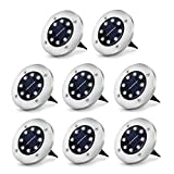 Solar Ground Lights Outdoor with 8 LED Lamp Beads - Solar Disk Lights Waterproof with Light Sensor for Garden, Lawn, Patio, Pathway, Yard, Driveway, Step (Bright White, 8 Packs)