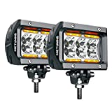 MICTUNING MIC-LLB-193 Pods Unlimited-GO K1 2Pcs 4 Inch 18W Off Road Flood LED Bar 1620lm with Amber Marker Light