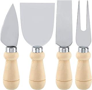 4 Unids/set Cuchillos de Queso de Acero Inoxidable Set, Cuchillo Cortador Cortador de Queso de Mango de Madera Premium