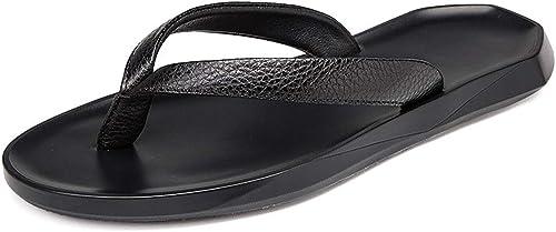 Hausschuhe, Herren Sandalen Flip-Flops Leder Strand Schuhe Herren Slip,40