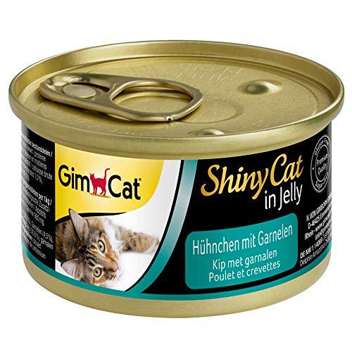 GimCat ShinyCat in Jelly, pollo con gambas - Alimento húmedo para gatos, con carne y taurina - 24 latas (24 x 70 g)