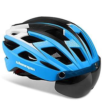 Shinmax Adults Bike Helmet,Bicycle Helmet Cycling/Climbing Helmet/MTB/BMX Adjustable Helmet with Removable Shield Visor/Safty Rear Led Light for Road SM-T69 Men&Women
