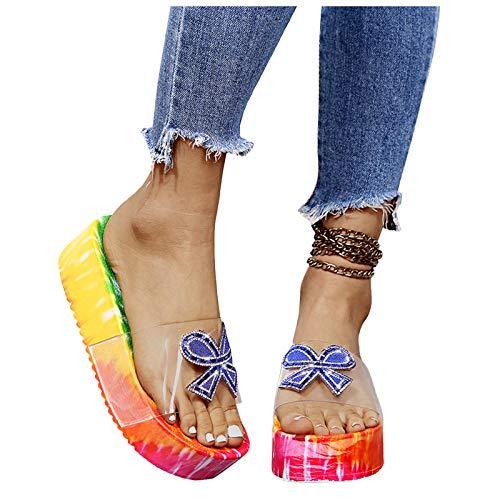 Aniywn Women's Platform Slide Sandals Summer Casual Slip On Heel Flats Slippers Boho Print Outdoor Slipper Shoes Blue