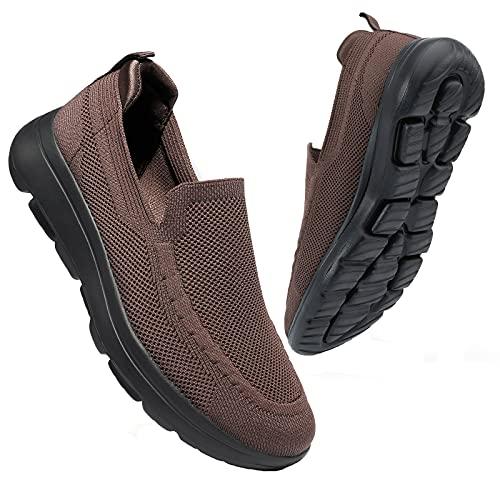 konhill Zapatillas Casual para Hombre Sin Cordones Calzado de Walking Deportivo Bajas de Ligerasy Transpirables Zapatos de Tenis EU 45,5 Marrón/Negro