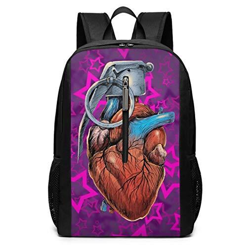 Heart Laptop Backpacks for Women Men 17 Inch Large Travel Cool College Black Schoolbag