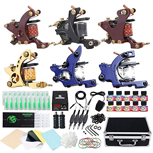 DragonHawk Beginner Complete Tattoo Kit 6Pcs Tattoo Machines Immortal Tattoo Inks Power Supply Needles Grips Tips Foot Pedal with Case