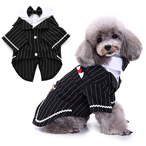 EMUST Dog Suit, Formal Dog Tuxedo Shirt for Small Puppy Dogs, Stylish Striped Tuxedo Dog Costume Wedding Party Suit, L
