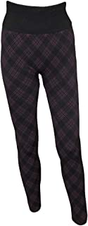 Plaid Fleeced Lined Leggings, Black and Wine - Large/XLarge
