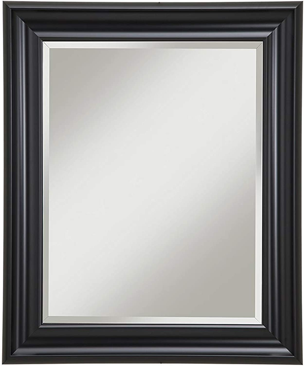 Benzara BM178079 Polystyrene Framed Wall Mirror with Beveled Glass, Black