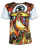Sure Herren T-Shirt Magische Zauber-Pilze Magic Mushrooms Goa Psychedelic Art LSD Party (Weiss L)