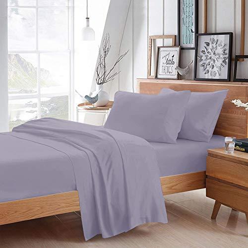 F9 100% algodón egipcio de 800 hilos, juego de sábanas para cama de agua, tamaño de bolsillo profundo de 50,8 cm, fresco y transpirable, fácil elástico, ajustable, lila,...