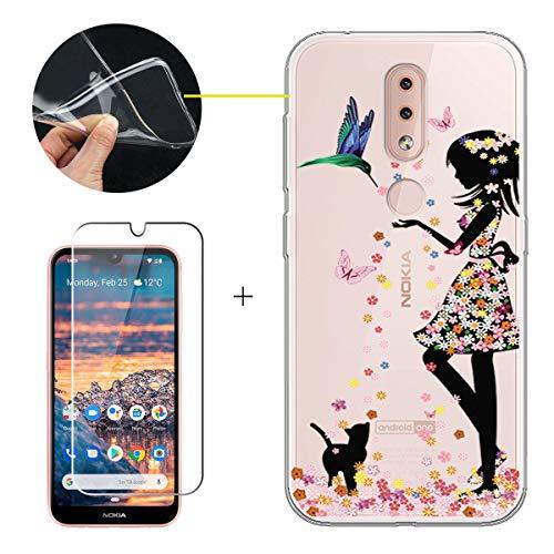 """LJSM Cover per Nokia 4.2 2019 + Pellicola Protettiva in Vetro Temperato - MorbidoSilicone Custodia Trasparente Protettivo TPU Gel Sottile Case per Nokia 4.2 2019 (5.71""""), WM49"""