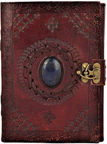 OVERDOSE Diario de viaje de cuero genuino hecho a mano, con piedra marrón, cuaderno de bocetos, tamaño 6 x 8 pulgadas
