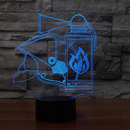 LLZGPZXYD Brandblusser, 3D-tafellamp, 7 kleuren, LED, Touch Night Light Regal voor kinderen USB Fire-Kit Baby Sleep Light Decor Touch