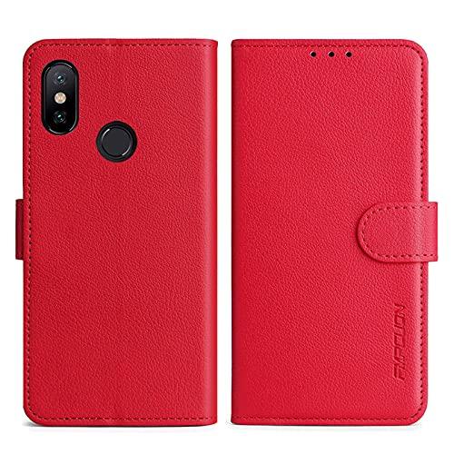 FMPCUON Handyhülle Kompatibel mit Xiaomi Mi A2 (Mi 6X) Hülle Leder PU Leder Tasche,Flip Hülle Lederhülle Handyhülle Etui Handytasche Schutzhülle für Xiaomi Mi A2 (Mi 6X),Rot