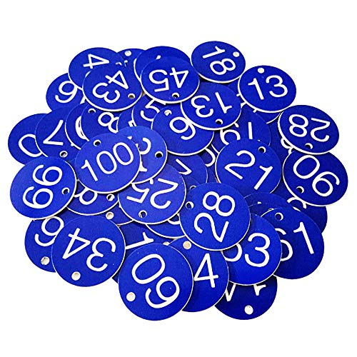 aoory 1 Bis 100 Blau 100 STK Schlüsselanhänger Numeriert Kennzeichnungsmarken Textmarken Zahlenmarken Schlüsselmarken