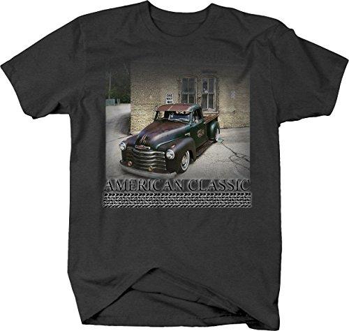 Bold Imprints American Classic - 50's patina Chevy Hotrod Pickup Truck Tshirt, Graphite, Medium