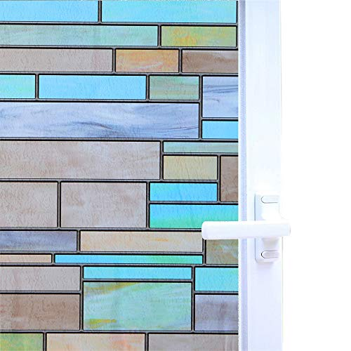 Niviy Privacy Window Covering Brick Stained Glass Window Film Waterproof Static Window Cling, 17.7' by 78.7' No Adhesive Glass Window Decor for Bathroom/Kids Room/Sliding Door, 1 Roll