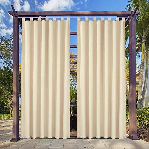 Clothink Outdoor Vorhang - B:132xH:215cm Beige - mit Steckverschluss Easy Hang on - Winddicht Wasserabweisend Sichtschutz Sonnenschutz