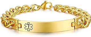 Personalized Engrave Stainless Steel Medical ID Bracelets Diabetic Allergy Medical Alert Bracelet Jewelry for Men Women