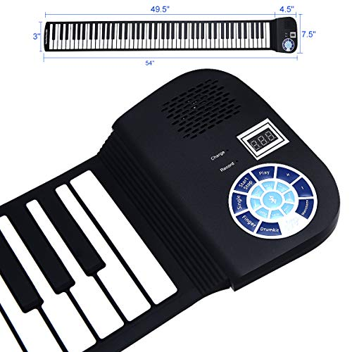 Best Deals! Portable Electric Roll Up 88 Keys Piano Keyboard,Safeplus Flexible Silicone Piano Keyb...