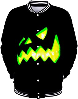 Beautyfine Mens Casual Long Sleeve Sweatshirt Scary Halloween Lover 3D Print Party NO Hoodie Top Blouse