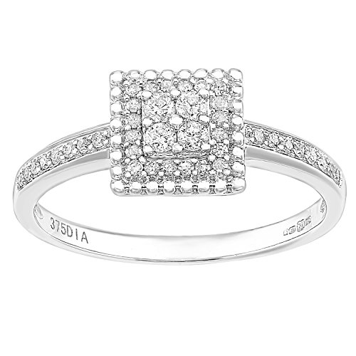 Naava 9ct Wit Goud Vierkant 0.25ct Halo Diamond Engagement Ring