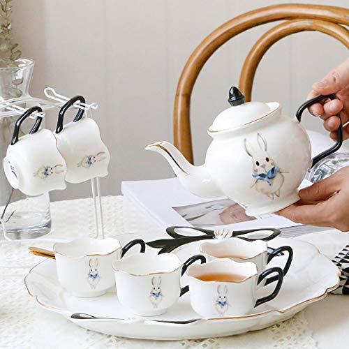 Juego de té de la tarde inglesa con la taza de café europea de la taza de cerámica de cerámica Jane, juego a punto de enviar filtro Pequeño lujo tetera tetera agua (Color : C)