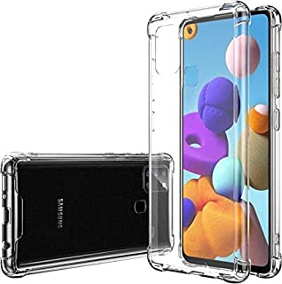 Crystal Clear Case for Samsung A21S, Heavy Duty Shockproof Bumper Hybrid Clear TPU Front Edge Full Body Cover Phone Cases ...