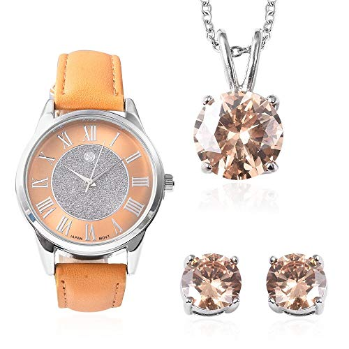 Set of 3 - Simulated Champagne Colour Diamond Pendant with Chain Size 20, Earrings with Push Back and STRADA Japanese Movement Water Resistant Watch with Mustard Strap in Stainless Steel