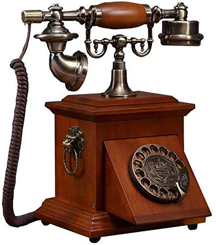 SXRDZ Vintage Phone/retro Telephone With Wood And Metal Body, Antique Solid Wood Telephone,Wired Rotary Dial Telephone Corded Telephone Old Telephone Telephone For Home Kitchen Hotel Office,A