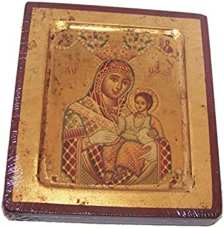 Blessed Mother of Bethlehem Icon with sheets of Gold (Lithography) - style I (4x5 inches).