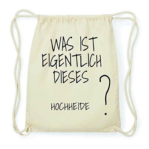 JOllify HOCHHEIDE Hipster Turnbeutel Tasche Rucksack aus Baumwolle - Farbe: Natur – Design: was ist eigentlich - Farbe: Natur