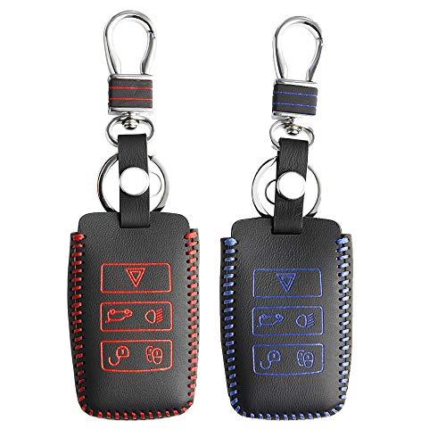 Key Cover, voor Range Rover Velar Discovery 5 Jaguar E-Pace Echt leer Verwijder sleutelhoes Keyless Keychain Car Styling Cap Shell