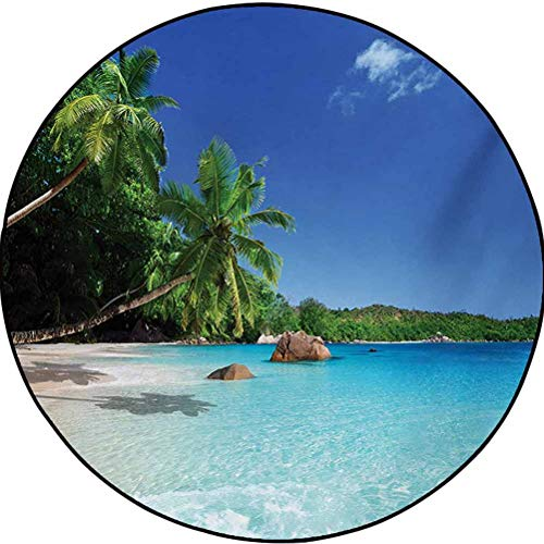 Ocean Polyester Colorful Round Rug for Girls Room and Nursery - Home Decor Sunny Horizon Skyline Transparent Water Isolated Beach at Prislin Island Turquoise Green Blue 4.5 ft in Diameter