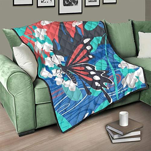 Flowerhome Colcha con diseño de mariposas, 173 x 203 cm, color blanco