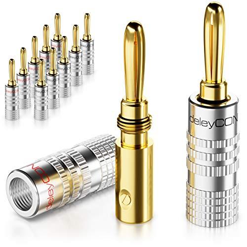 deleyCON 12x Fiche Banane Plaquée Or Vissable pour Câble de Haut Parleur de 0,75mm à 4mm & Récepteur HiFi