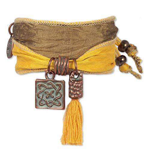 Anisch de la Cara - Damesarmband amulet sun goud infinity - Armband van Indiase saris - artnr. 90910-b