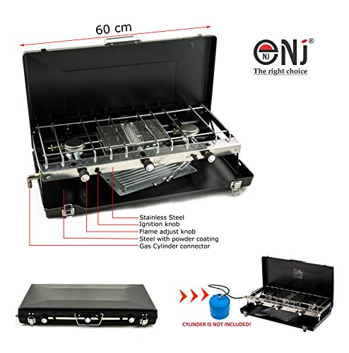 NJ FS-430 Foldable Camping Gas Stove Grill 3 Burner Portable Carry Case Outdoor