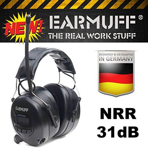 Gehoorbescherming met FM-radio, AUX-ingang gehoorbescherming (31dB zwart)