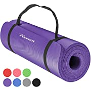 REEHUT Exercise Mat NBR Fitness Yoga Mat 12mm Extra Thick High Density NBR Mat for Pilates, Fitness & Workout with Carry Strap
